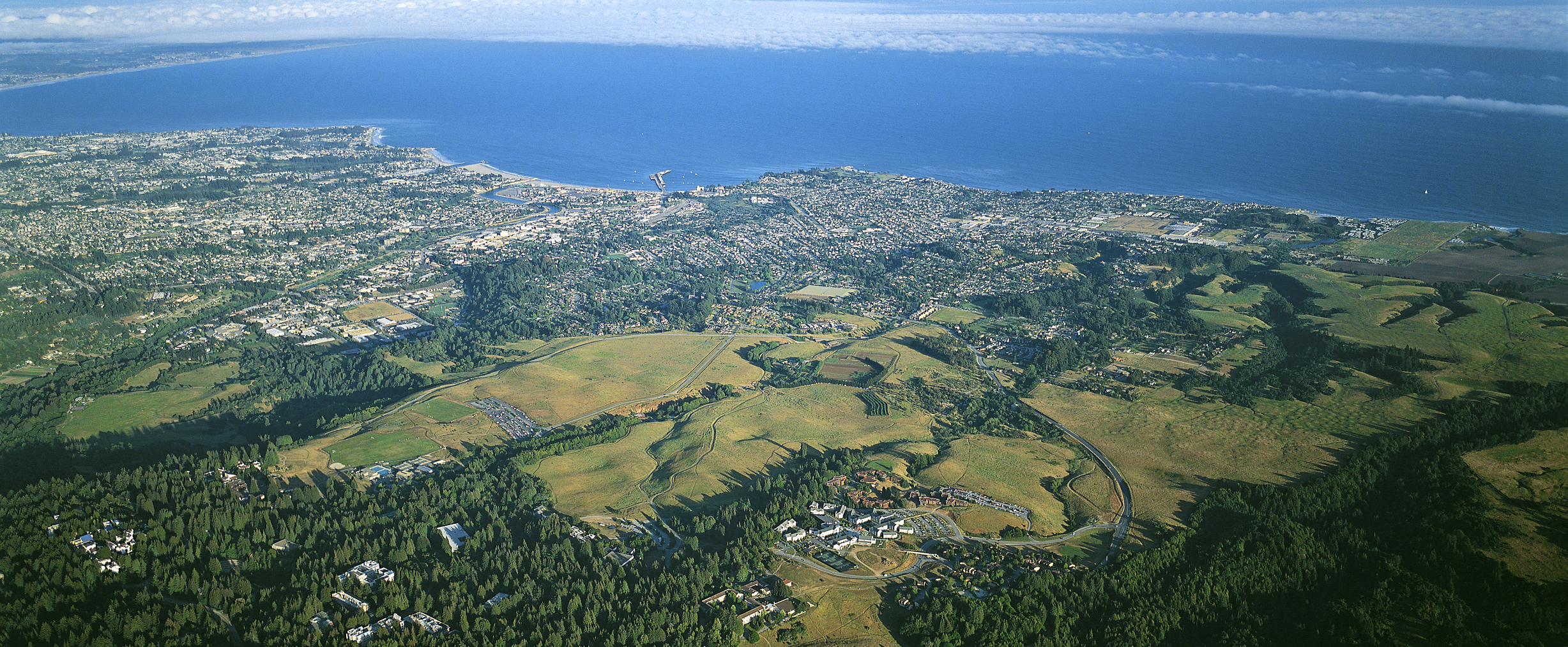 Aerial view of the campus and Monterey Bay