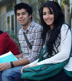 Two UCSC students on a bench